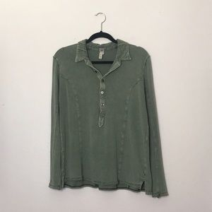 We The Free Long Sleeve Tunic 1/2 Button-up SM